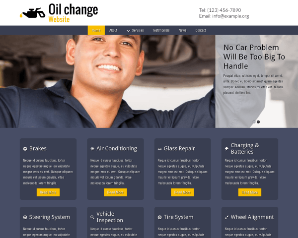 Desktop screenshot of the Oil Change Website