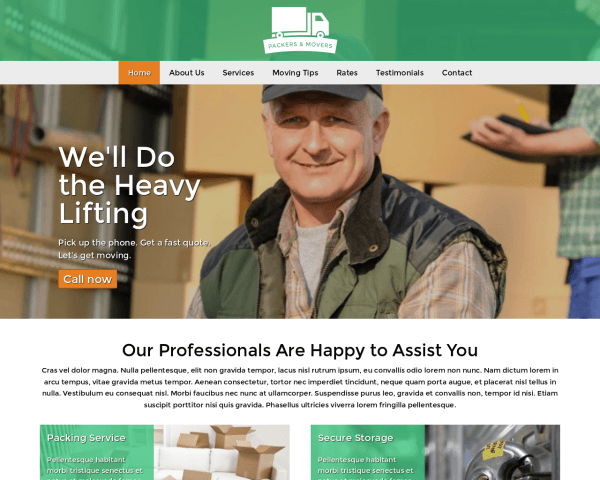 Desktop screenshot of the Packers And Movers Wordpress Theme