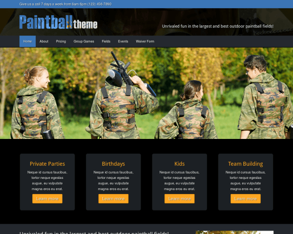 Desktop screenshot of the Paintball Wordpress Theme