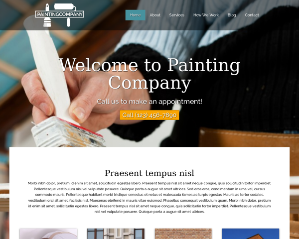laptop screenshot WordPress theme 'Painting Company WordPress theme'
