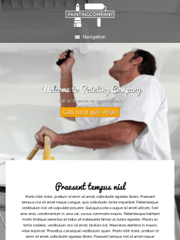 tablet screenshot WordPress theme 'Painting Company WordPress theme'