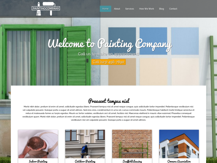 desktop screenshot of the WordPress theme 'Painting Company WordPress theme'