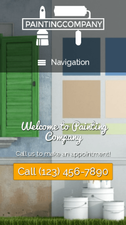 mobile phone screenshot WordPress theme 'Painting Company WordPress theme'