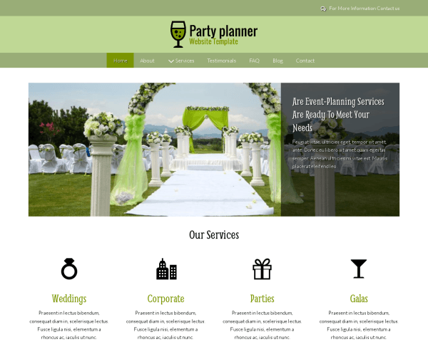Party Planner Website Template