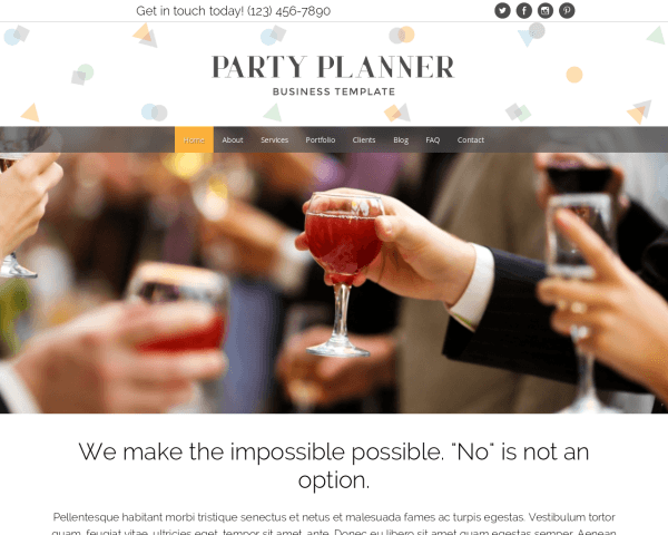 Party Planner WordPress theme thumbnail (desktop screenshot)