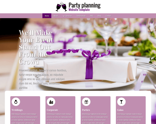 Party Planning Website Template