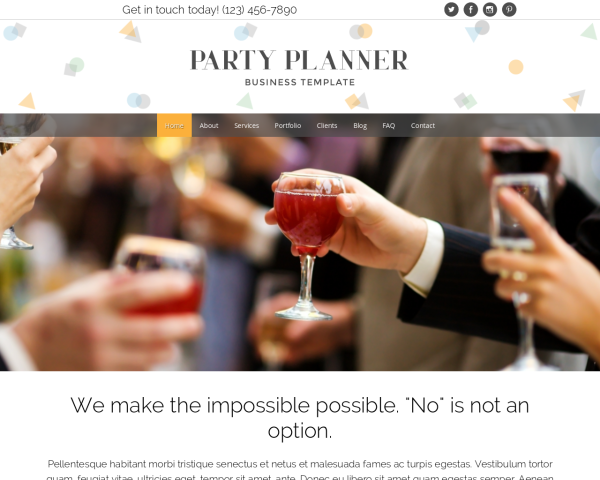 laptop screenshot WordPress theme 'Party Planner WordPress theme'