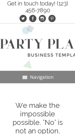 mobile phone screenshot WordPress theme 'Party Planner WordPress theme'