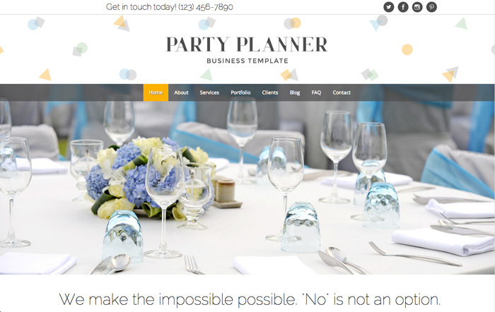 Party Planner Wordpress Theme - Premium site template