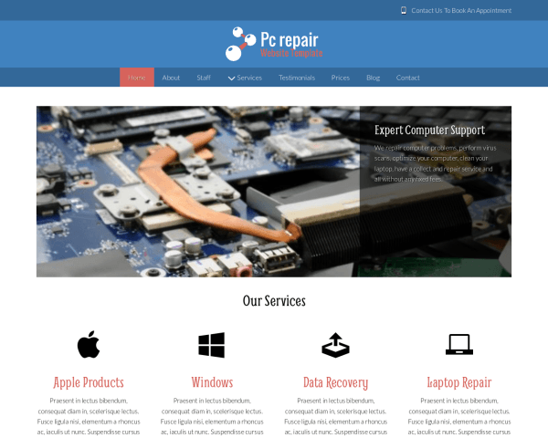 image representation of the Pc Repair Website Template