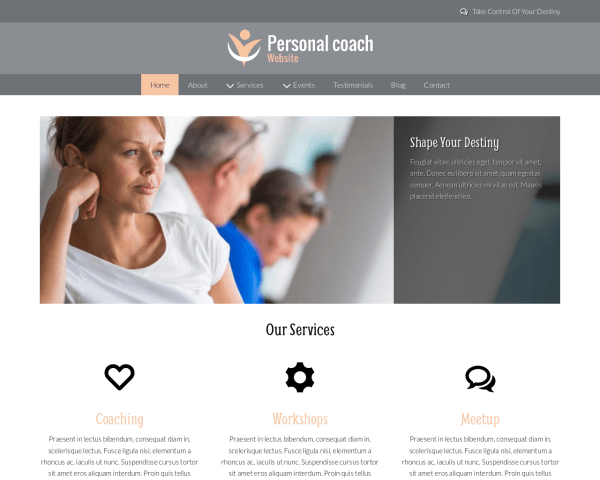 Desktop screenshot of the Personal Coach Website