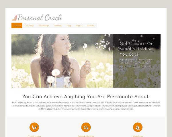 Desktop screenshot of the Personal Coach Wordpress Theme