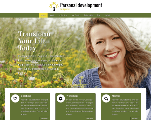 Desktop screenshot of the Personal Development Template
