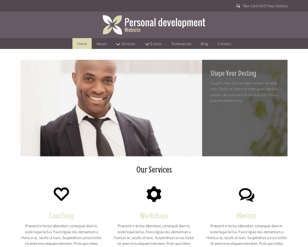 Desktop screenshot of the Personal Development Website