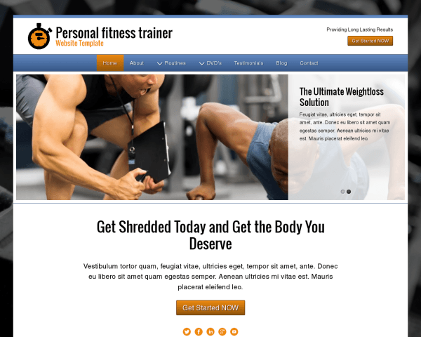 websites designs for personal trainer