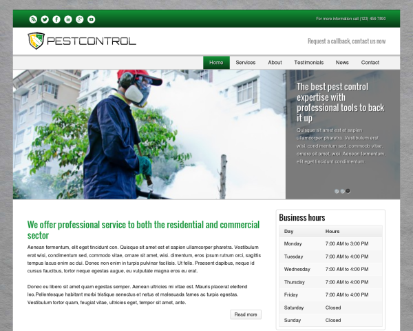 laptop screenshot WordPress theme 'Pest Control WordPress theme'