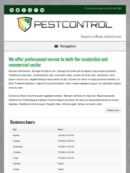 tablet screenshot WordPress theme 'Pest Control WordPress theme'
