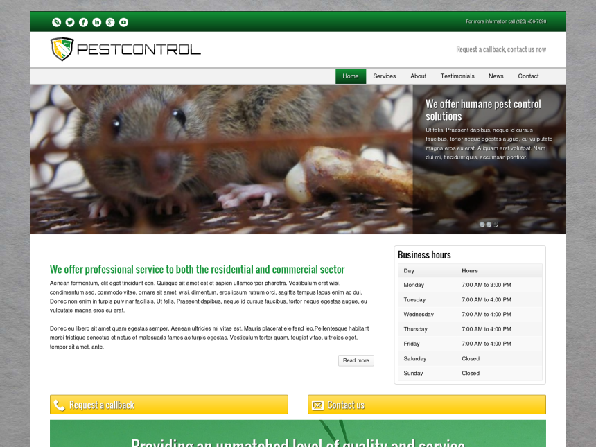 desktop screenshot of the WordPress theme 'Pest Control WordPress theme'