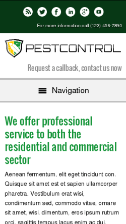 mobile phone screenshot WordPress theme 'Pest Control WordPress theme'