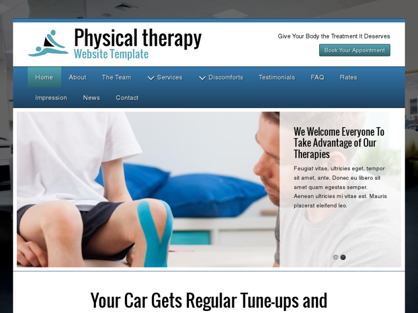 landscape tablet screenshot of WordPress theme 'Physical Therapy Website Template'
