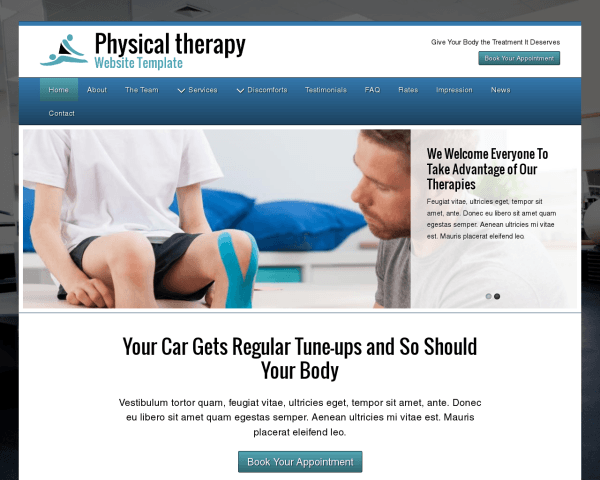 Desktop screenshot of the Physical Therapy Website Template