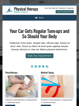 tablet screenshot WordPress theme 'Physical Therapy Website Template'