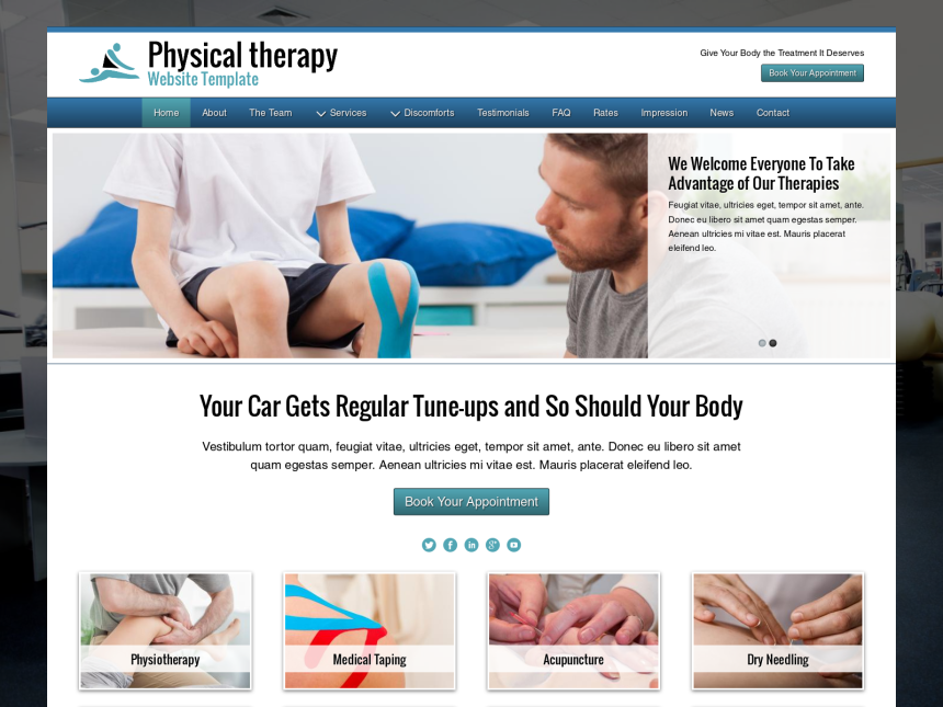 desktop screenshot of the WordPress theme 'Physical Therapy Website Template'