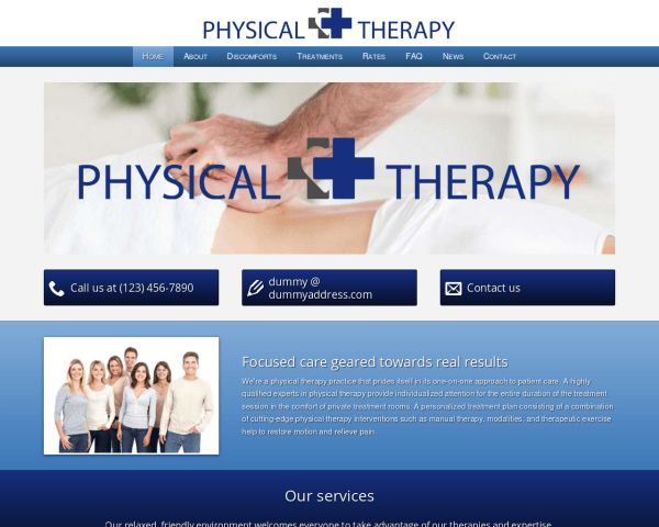 Desktop screenshot of the Physical Therapy Wordpress Theme