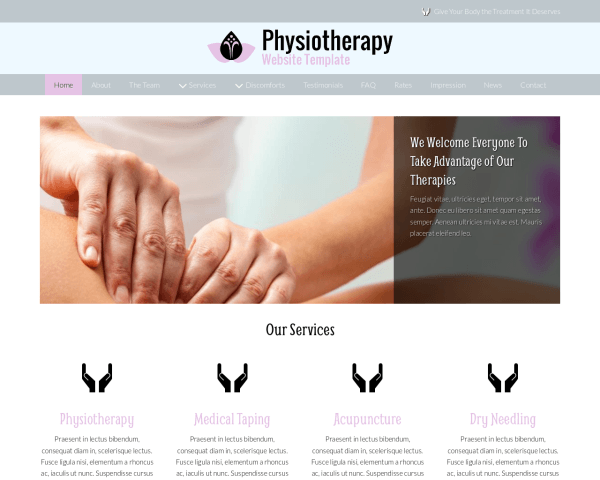 Desktop screenshot of the Physiotherapy Website Template