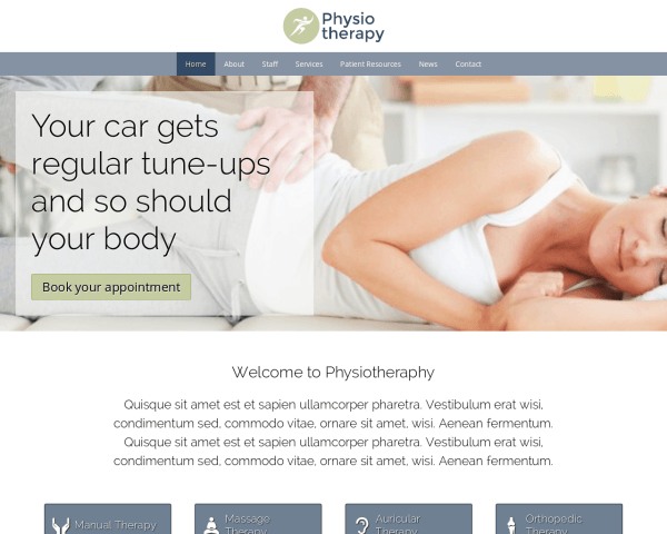 Desktop screenshot of the Physiotherapy Wordpress Theme