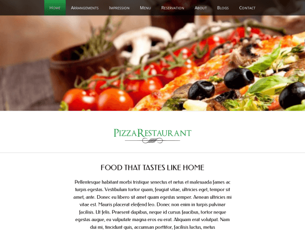 Desktop screenshot of the Pizza Wordpress Theme