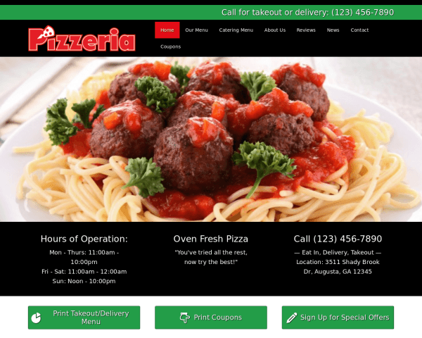 Desktop screenshot of the Pizzeria Wordpress Theme