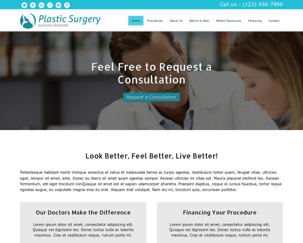Desktop screenshot of the Plastic Surgery Wordpress Theme