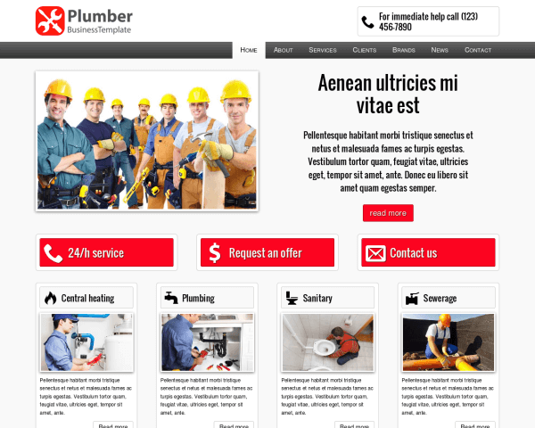laptop screenshot WordPress theme 'Plumber WordPress theme'