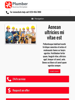 tablet screenshot WordPress theme 'Plumber WordPress theme'