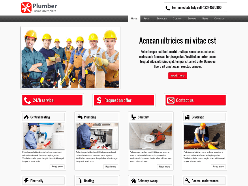 desktop screenshot of the WordPress theme 'Plumber WordPress theme'