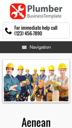 mobile phone screenshot WordPress theme 'Plumber WordPress theme'