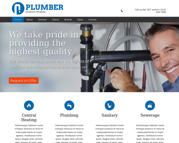 laptop screenshot WordPress theme 'Plumber Website Template'