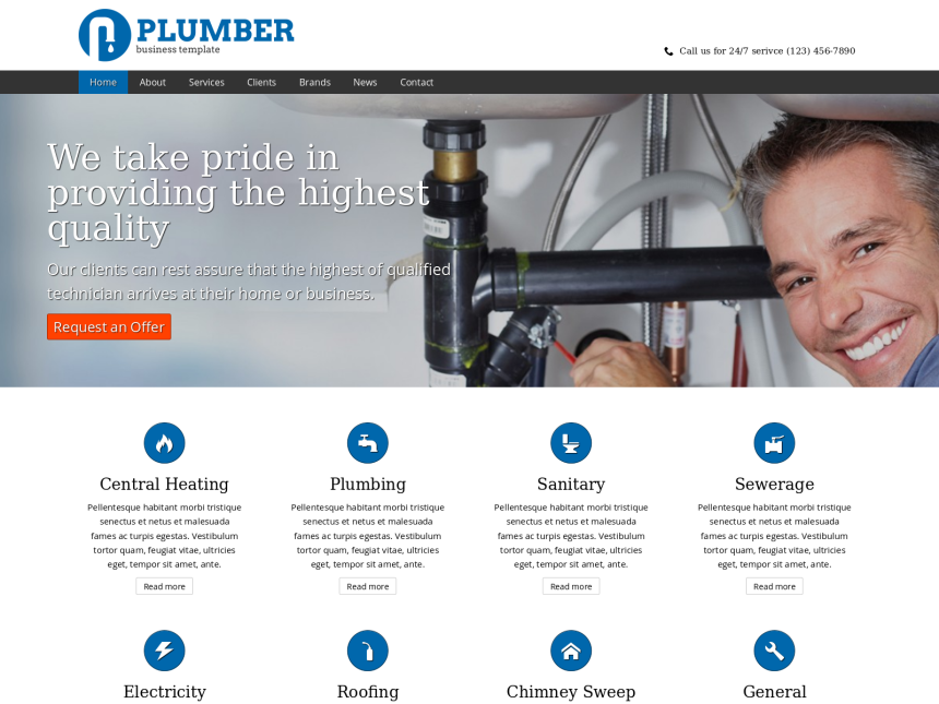 desktop screenshot of the WordPress theme 'Plumber Website Template'