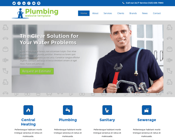 Desktop screenshot of the Plumbing Website Template