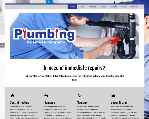 Desktop screenshot of the Plumbing Wordpress Theme