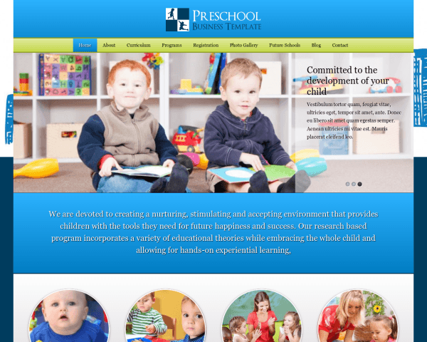 Desktop screenshot of the Preschool Wordpress Theme