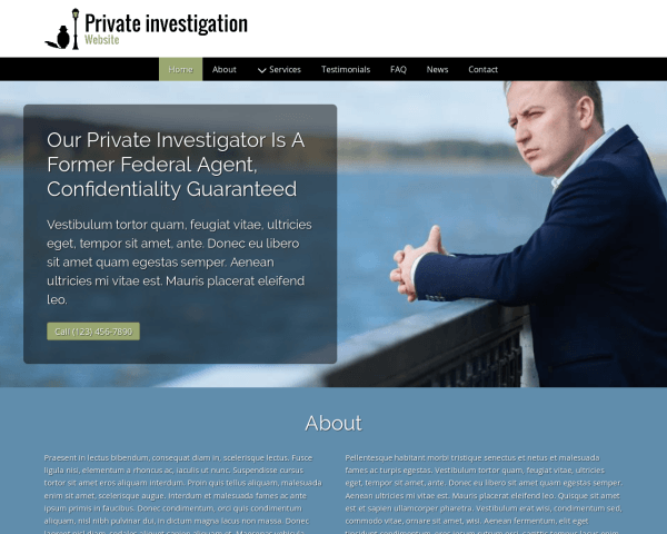 Desktop screenshot of the Private Investigation Website