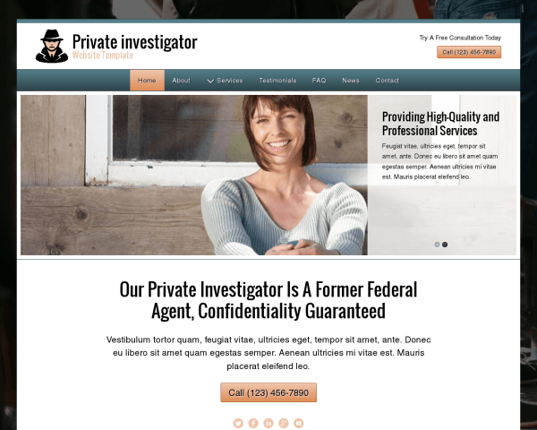 Desktop screenshot of the Private Investigator Website Template