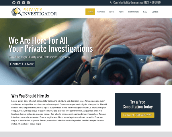 Desktop screenshot of the Private Investigator Wordpress Theme