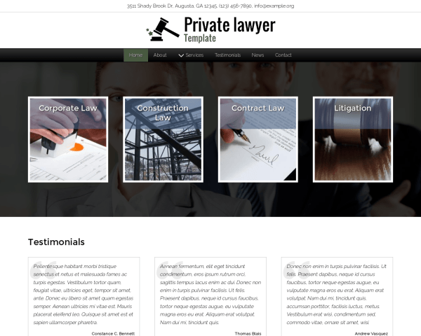 Desktop screenshot of the Private Lawyer Template