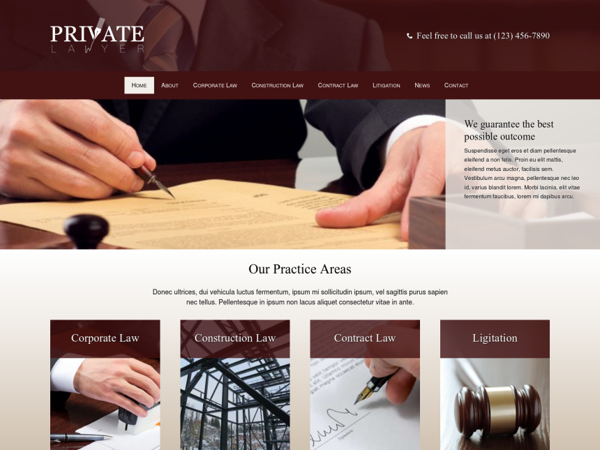 Private Lawyer Wordpress Theme - Premium template for the Lawyer ...