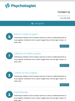 tablet screenshot WordPress theme 'Psychologist WordPress theme'