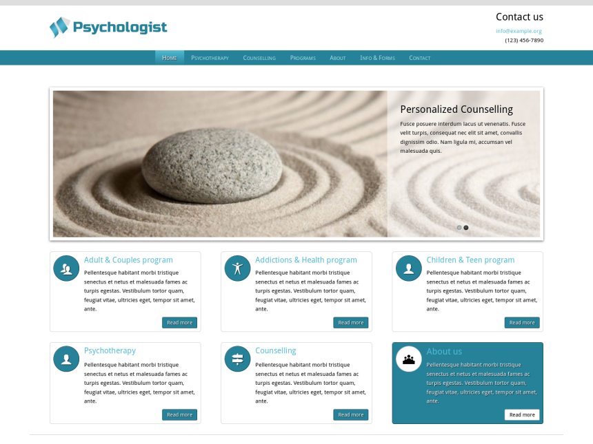 desktop screenshot of the WordPress theme 'Psychologist WordPress theme'