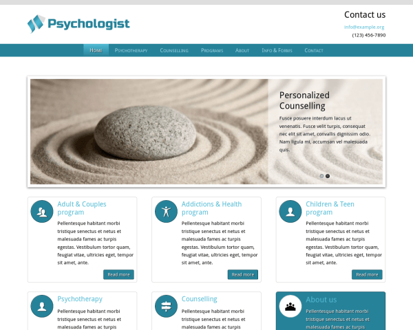 Psychologist WordPress theme thumbnail (desktop screenshot)